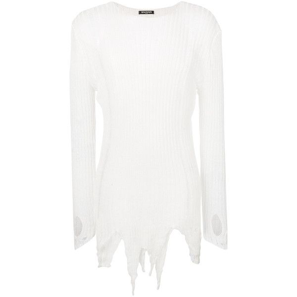Balmain distressed ribbed jumper (€740) via Polyvore featuring men's fashion, men's clothing, men's sweaters, white, mens ripped sweater, mens leather sweater, mens ribbed sweater, mens long sleeve polo sweater und mens star wars sweater
