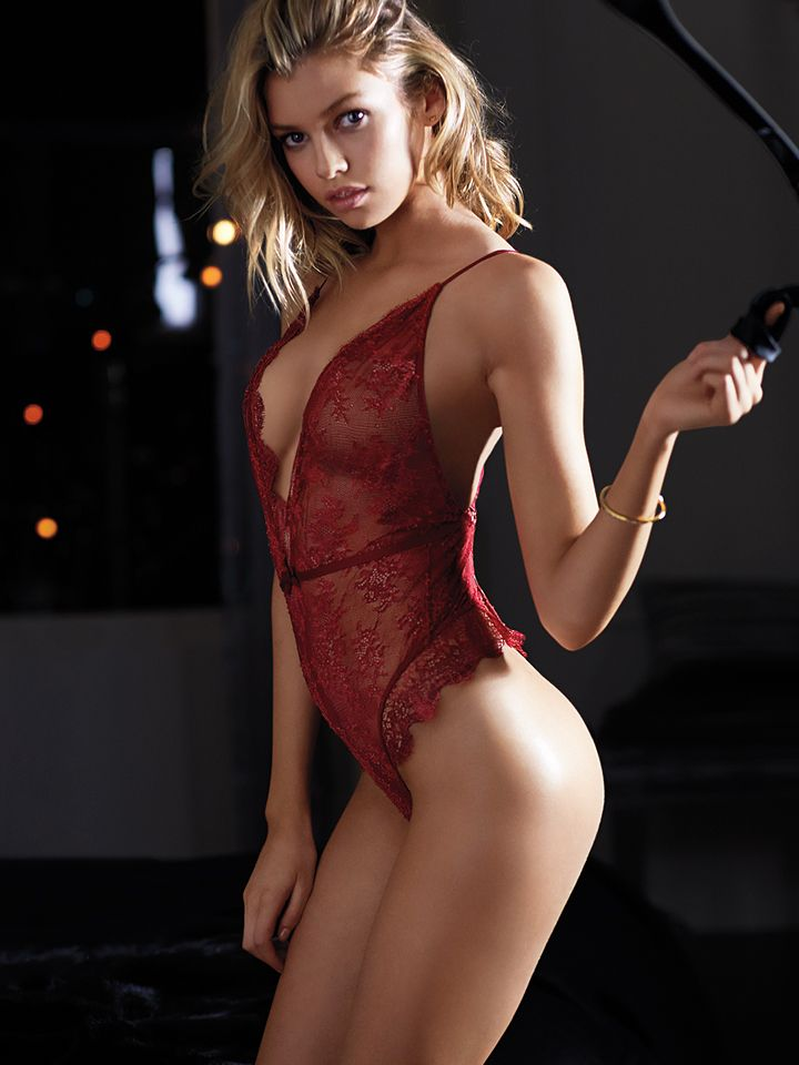 Blonde red lingerie and spit job