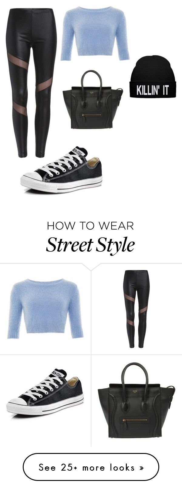 """streets style"" by werbungonline on Polyvore featuring Converse, CÉLINE, women's clothing, women's fashion, women, female, woman, misses and juniors"