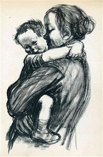 Mother with Child - Kathe Kollwitz