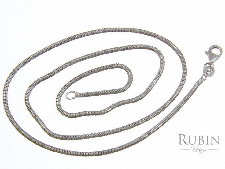 Ródiumos ezüst hengeres kígyó nyaklánc
