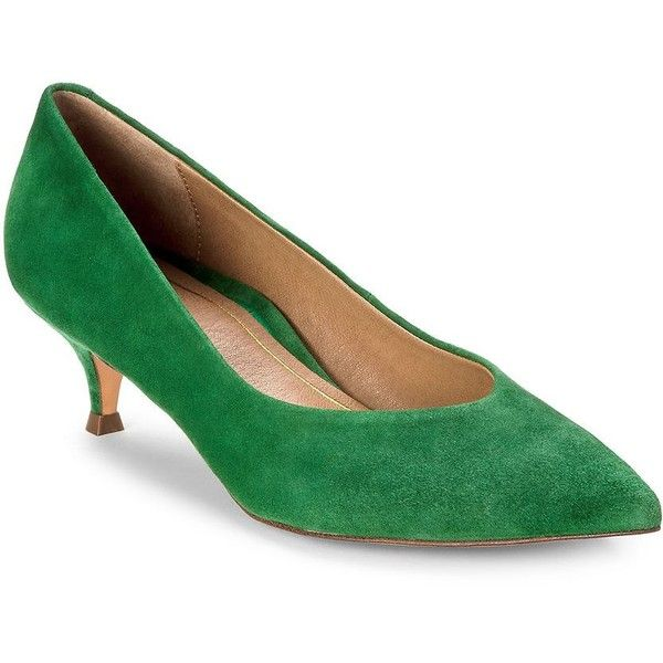 Vionic Women's Josie Suede Pumps ($140) ❤ liked on Polyvore featuring shoes, pumps, green, suede pumps, green suede shoes, pointed-toe pumps, green pumps and vionic shoes