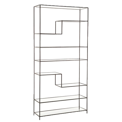 Worchester Natural Iron/Glass Bookshelf. Minimalism at it's finest
