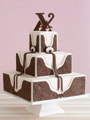 I did a wedding and my bride used this cake. The chocolate part is fondant and they actually use a leather stamp for the design. We did the whole reception around it. We even used branded enamel ware and woven rope baskets!! Her FIL made a cool cake stand with real brands on it. Fun wedding.