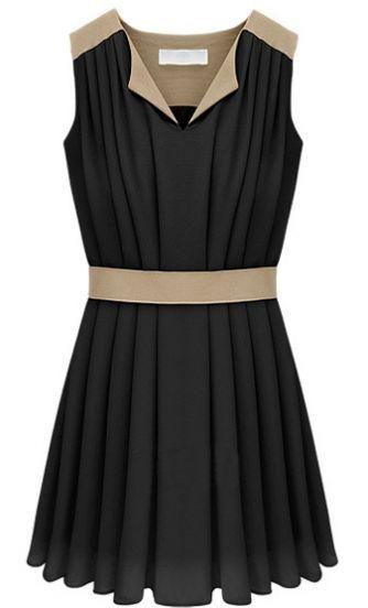 Vestido gasa plisado-Negro €24.86