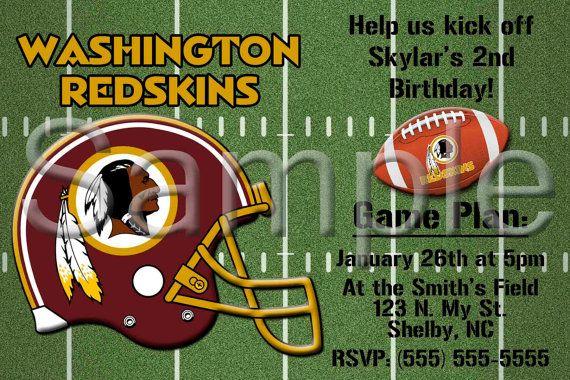 custom washington redskins football invitation or by