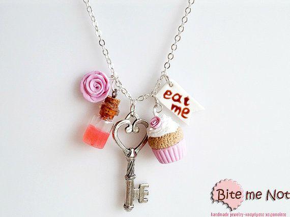 Alice in Wonderland NecklacePolymer clay Mini Food by BiteMeNot, €27.00