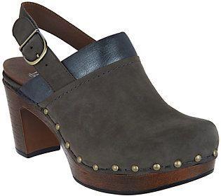 Dansko As Is Nubuck Leather Block Heel Clogs - Delle