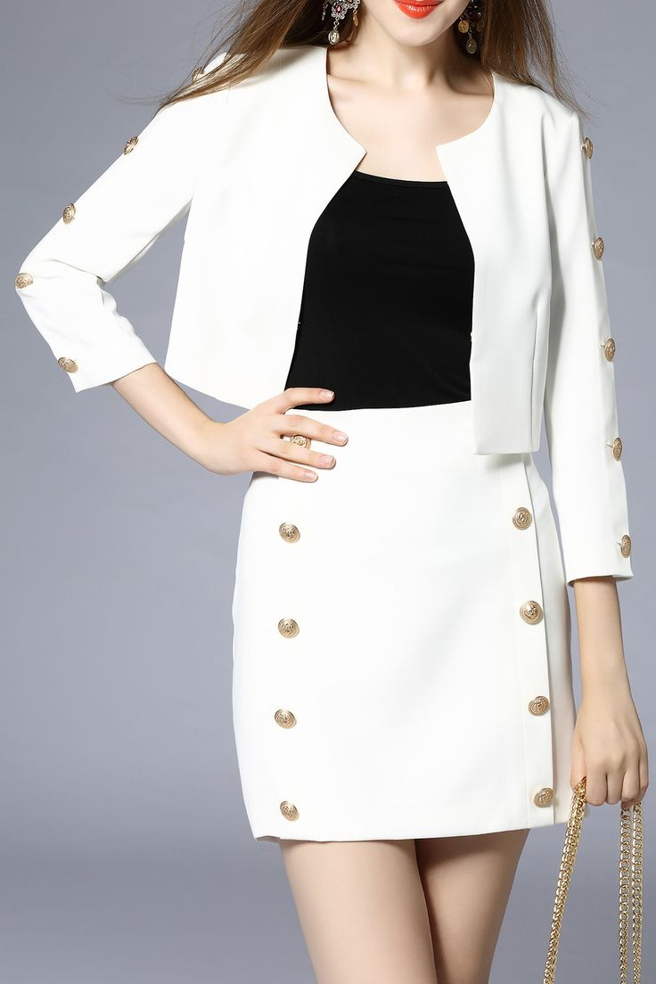Celineia White Button Front Pure Color Twinset | Jackets at DEZZAL