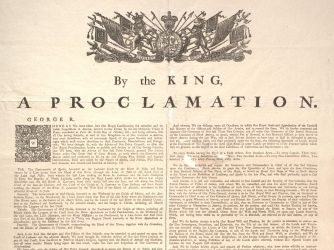 Proclamation of 1763 - 1763 At the end of the French and Indian war, the British issued the proclamation prohibiting settlement beyond the Appalachian Mountains. While Britain did not intend to harm the colonists, many colonists took offense at this order.