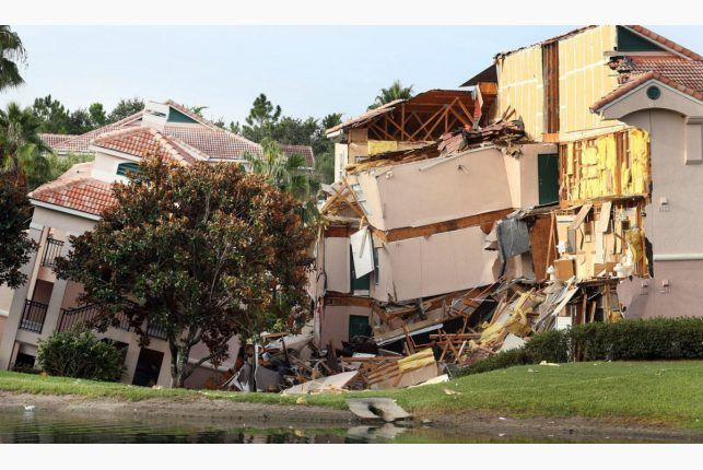 Resort near Disney World partially collapses into sinkhole. Buildings collapse into a sinkhole at the Summer Bay Resort in Clermont, Florida, Monday, August 12, 2013.