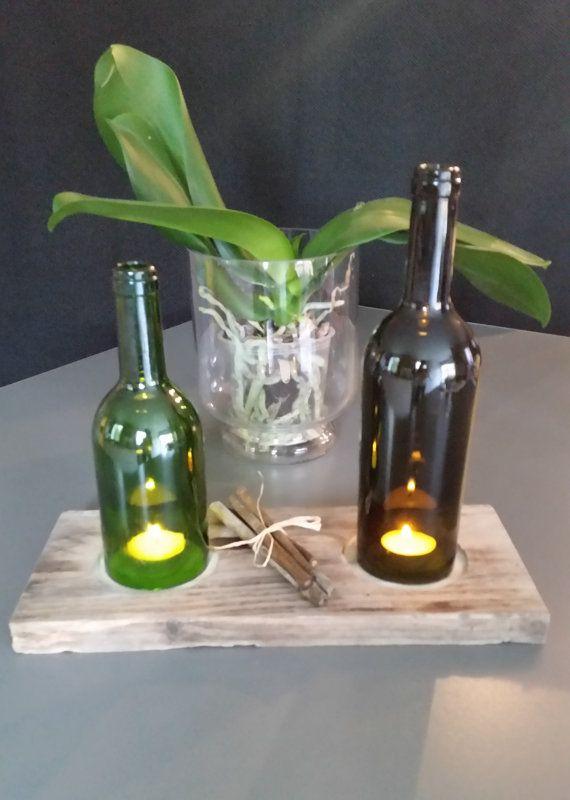 Bougeoir bouteille verre coupé sur bois recyclé - Bougeoir, photophore bougies, fleurs flottantes, présentoir bouteilles, lampes tempête
