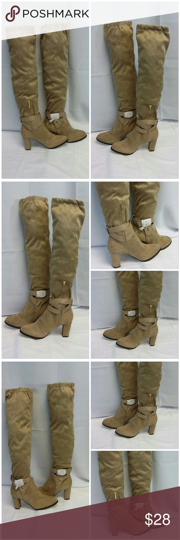 """EVE MENDES, NEW WITH TAG IN BOX Faux Suede size 7 EVE MENDES, NEW WITH TAG IN BOX, Taupe, very soft Velvet/Suede like man-made material,  3"""" matching covered Heel, Boots NWT in Box, size 7, 3 hole adjustable ankle wrap with gold tone buckle, belt loop back center above heel, 9"""" zipper with 1"""" gold tone zipper tab, 19 1/2"""" from heel to top of boot on calf, 7 1/2"""" wide calf laying flat or 15"""" circumference,  style name Corso.  ADD TO A BUNDLE! 30% Automatically Discounted on all Bundles! Eve…"""