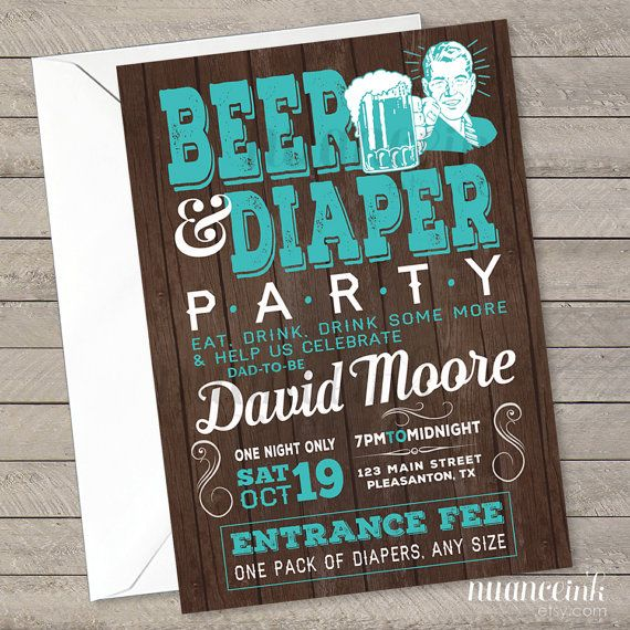 Beer and Diaper, baby shower, party invitations, printed or digital copy, 24 hr…