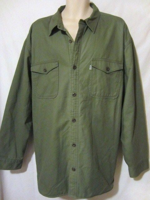Levi's LEVIS Strauss Cotton Jacket Shirt Mens Sz XXL 2XL Green Fleece Lined NWT #Levis #levishirt #menscasualfashion #bigmens #mensclothing