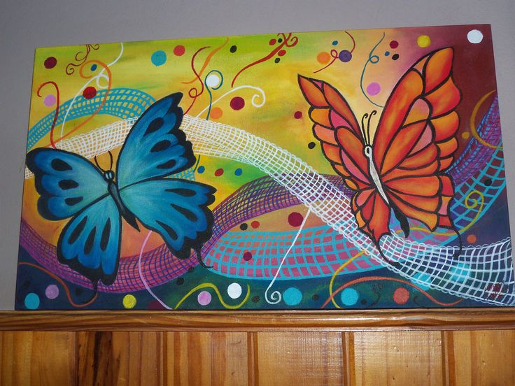 Abstracto con mariposas pintura sobre tela cuadros - Fotos de cuadros modernos ...