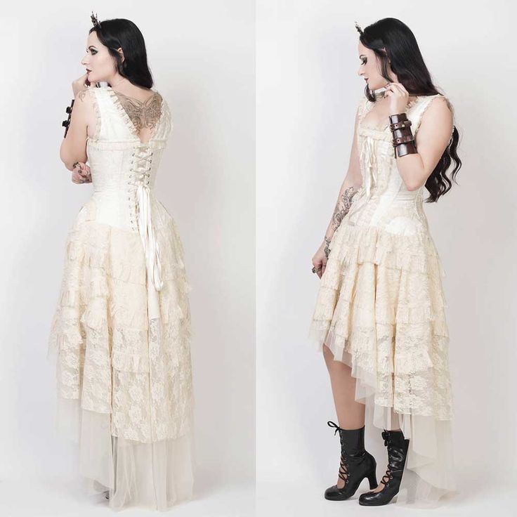 TROUWJURK <3 VG London Victoriaanse gelaagde korset jurk met kant en lint detail cr