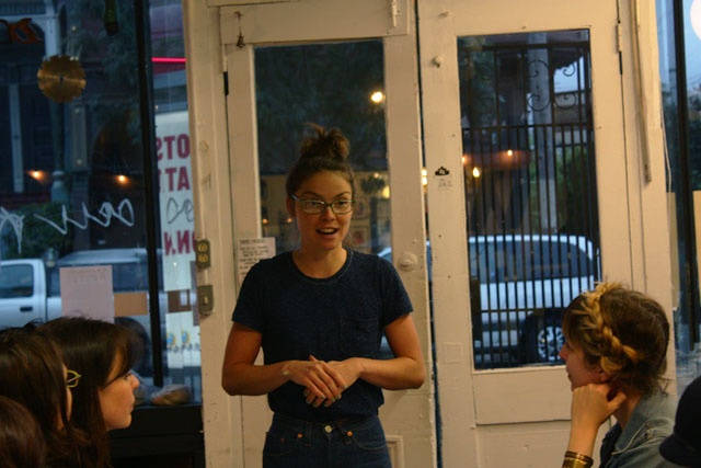 POP-UP BRITEX: Geana Sieburger enthusiastically getting started with Warp x Weft: textile 101 at Workshop SF.