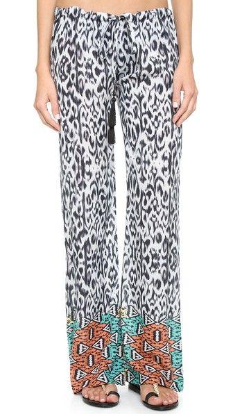 Bindya Пляжные брюки Safari с рисунком в технике икат