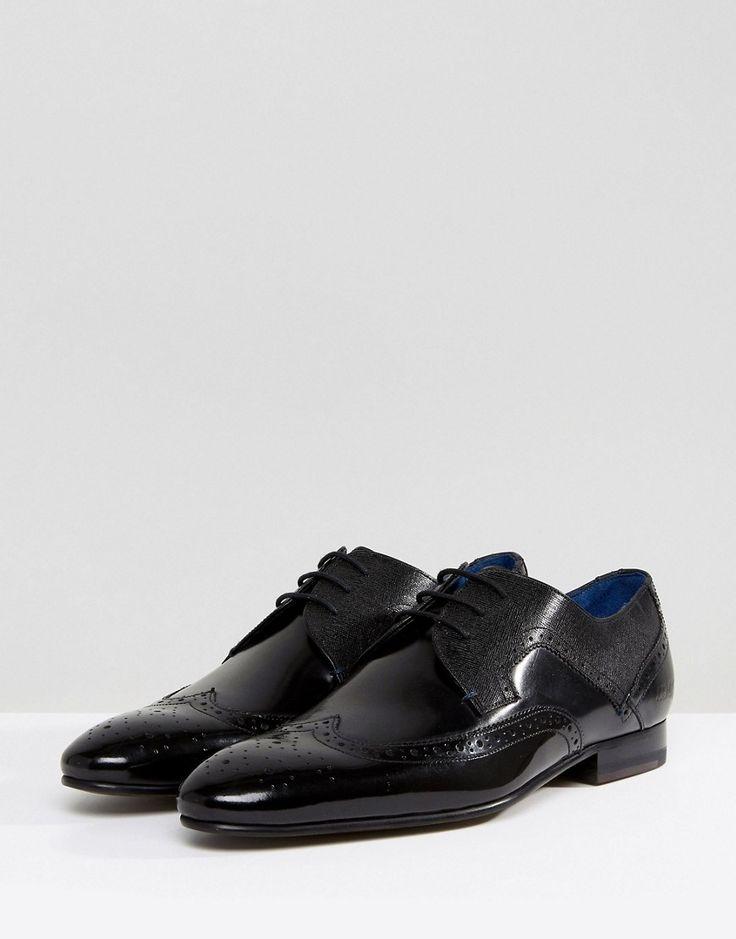 Ted Baker Oakke Hi Shine Brogue Shoes - Black
