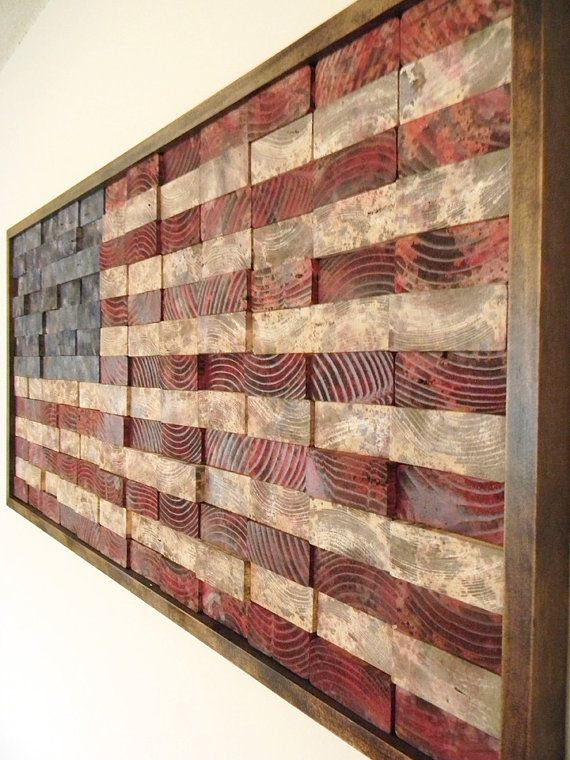 Recommissioned Flag #3  Oil on pine  43.5 x 21 x 2 inches  Matthew Jarmer    This is an original American flag wall hanging made of reclaimed pine 2x4s.