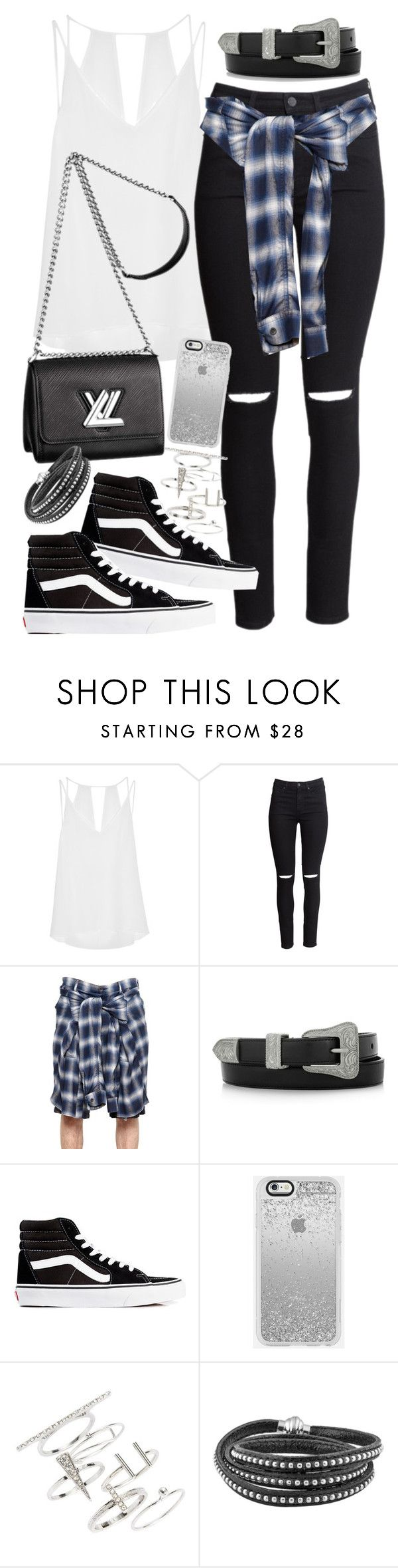"""""""Outfit for a campus tour with Vans"""" by ferned ❤ liked on Polyvore featuring Sandro, H&M, Miharayasuhiro, Yves Saint Laurent, Vans, Louis Vuitton and Topshop"""
