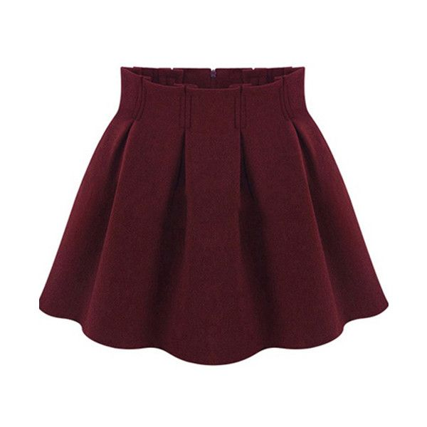 SheIn(sheinside) Red High Waist Pleated Flare Skirt ($16) ❤ liked on Polyvore featuring skirts, bottoms, faldas, sheinside, red, red circle skirt, purple skater skirt, red pleated skirt, circle skirt and short skirts