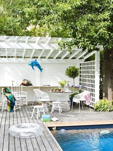 Area behind pool for hammock, bar fridge. Not in white but in black/dark grey.