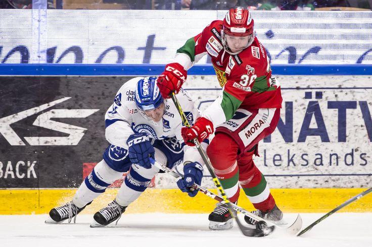 Leksands Martin Karlsson and Moras Linus Johansson, HockeyAllsvenskan 2015-16 FIGJAM