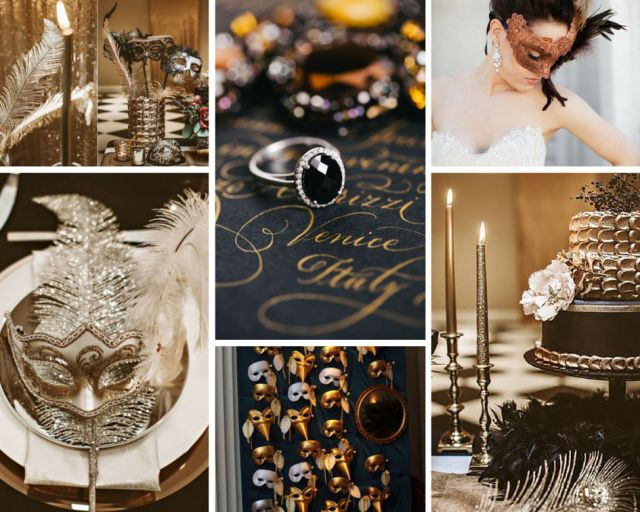 Inspiración para bodas temáticas. Carnaval de Venecia. Negro y dorado