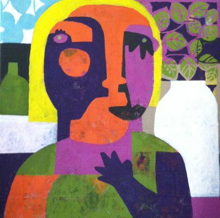 Helen Oprey Alone - 2014 Mixed media on linen 100 x 100 cm  Enquiries: info@19karen.com.au