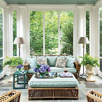 Elegant Colonial Porch | Keeping all of the furniture the same style allows its defining lines to have a stronger impact in the small space.