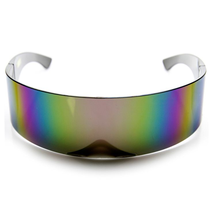 Ultimate retro shield wrap around high fashion sunglasses. Make a statement with these cool reflective mirrored lens. Made with an acetate and polycarbonate UV protected lenses. Measurements: 70-42-46