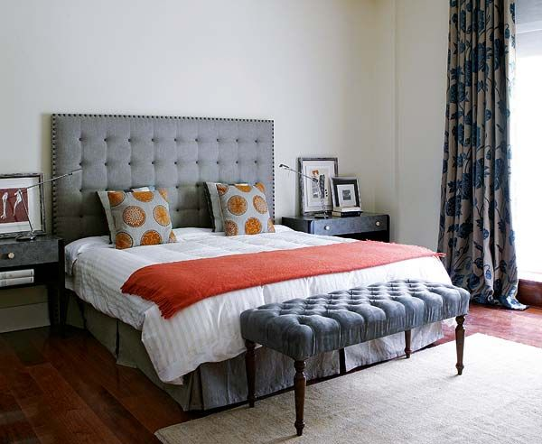 Gray white terra cotta orange bedding bedroom decorating for White and orange bedroom designs