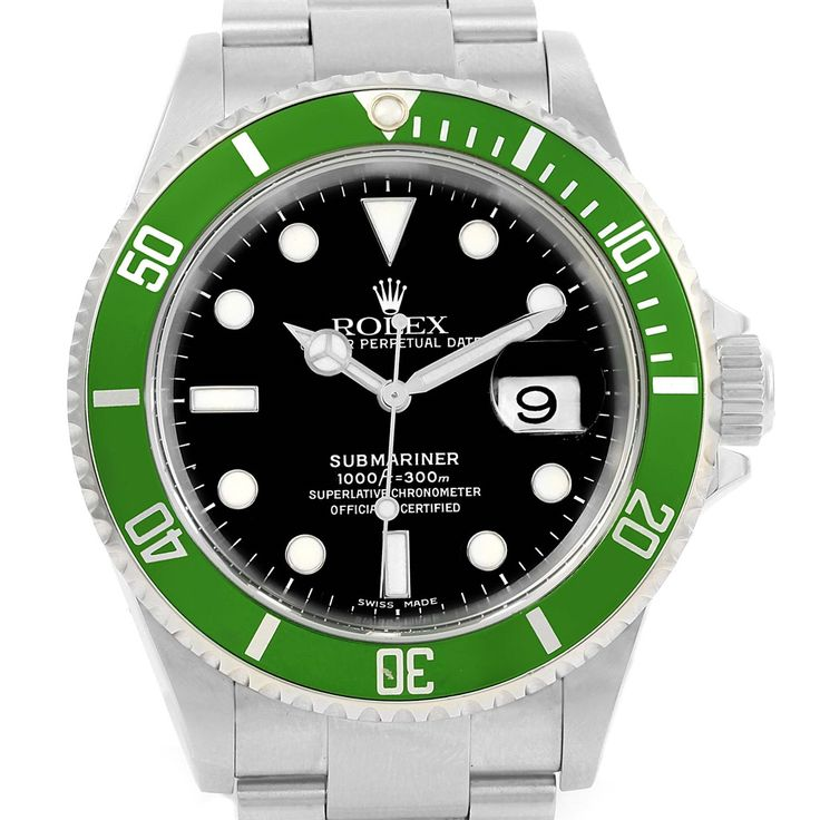 14546 Rolex Submariner Green Bezel 50th Anniversary Mens Watch 16610LV SwissWatchExpo