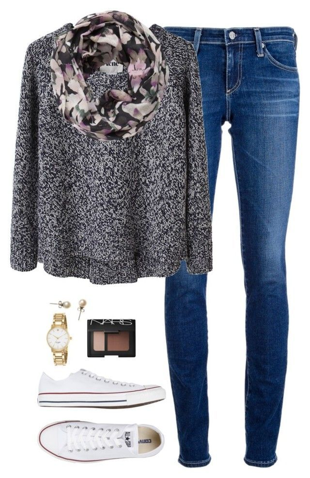 """""""Getting there."""" by northern-prep ❤ liked on Polyvore featuring AG Adriano Goldschmied, Acne Studios, Pieces, Converse, Kate Spade, J.Crew and NARS Cosmetics"""