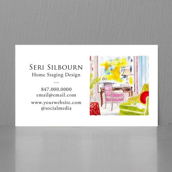 Interior Designer Business Cardhome Staging Business Card Etsy In 2020 Illustration Business Cards Interior Designer Business Card Unique Business Cards