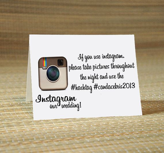 Instagram My Wedding Hashtag Cards -Wedding Calligraphy for Place Card, Escort Card, Name Card, Table Card ilulily designs via Etsy
