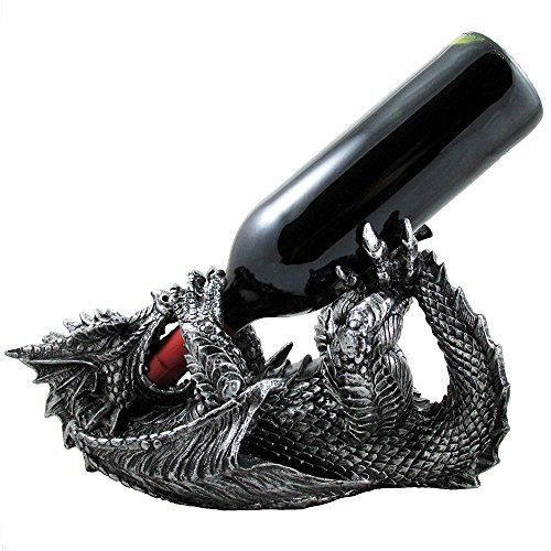 Mythical Dragon Wine Bottle Holder Statue in Medieval  Fantasy Bar or Kitchen Table Decor Sculptures and Decorative Gothic Racks and Stands As Gifts for Wine Lovers *** See this great product. Note:It is Affiliate Link to Amazon.