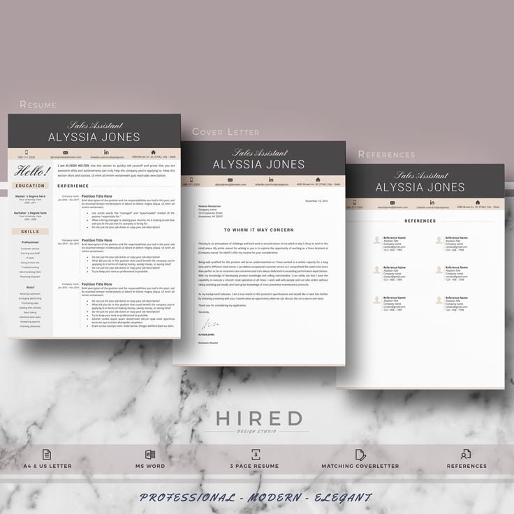 Modern Resume template | CV modern template for Ms Word | Instant download Resume, CV + Matching cover letter + References Sheet + icon sets + Resume writing guide with tips and samples
