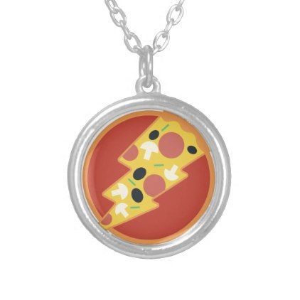 Flash Pizza Silver Plated Necklace - jewelry jewellery unique special diy gift present