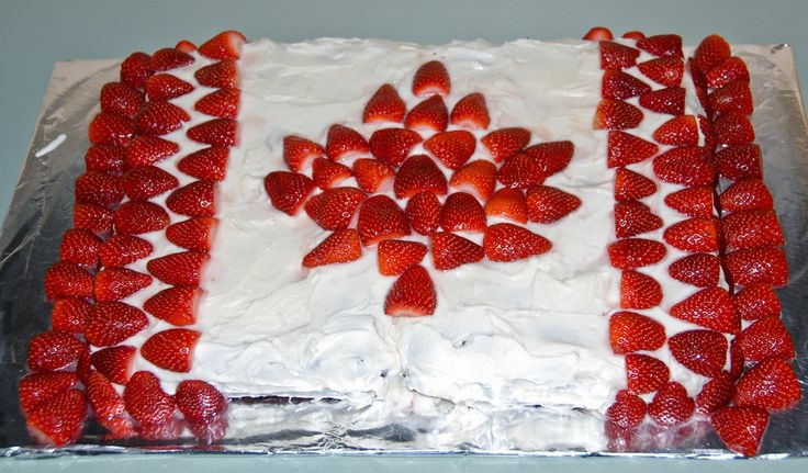 Happy Canada Day! Strawberries, icing and chocolate cake