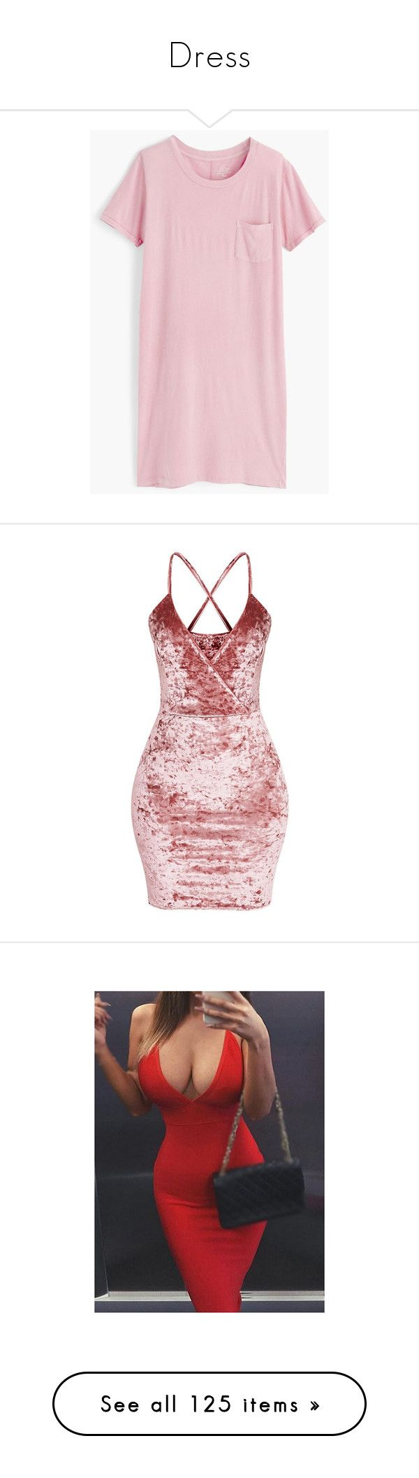 """""""Dress"""" by ashanti-chubb ❤ liked on Polyvore featuring dresses, tee dress, cotton tee shirt dress, cotton dress, loose t shirt dress, straight dresses, pink strap dress, pink bodycon dress, bodycon dress and body con dress"""