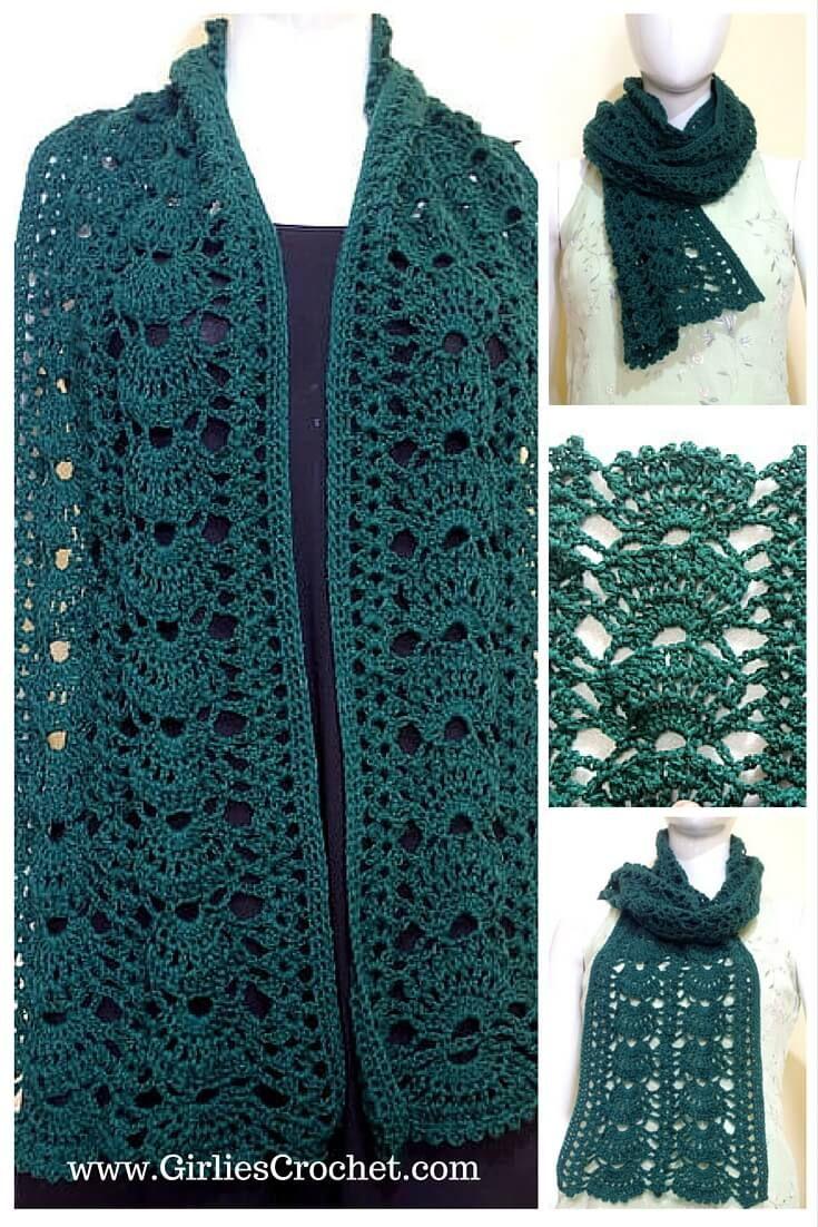 Grace Green Scarf. Free crochet pattern ~ k8 ~