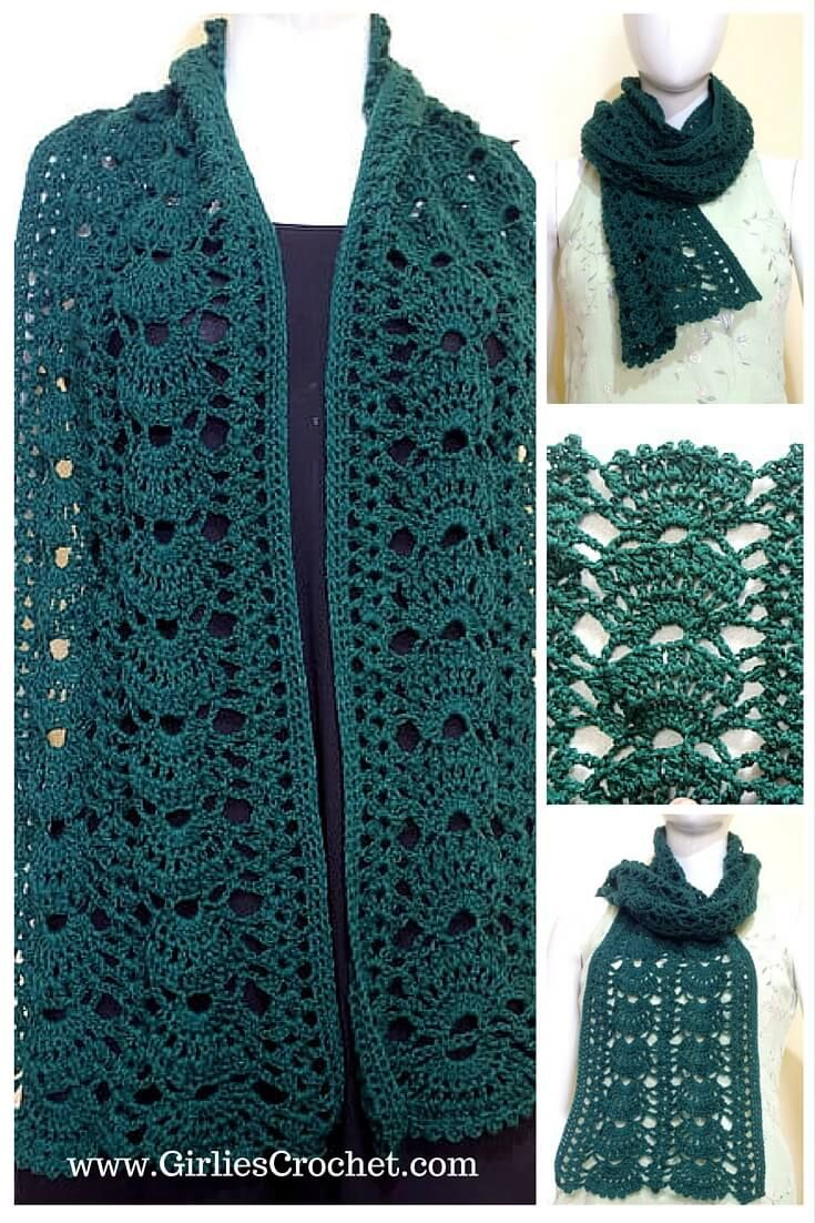 Easy Lacy Crochet Shawl Pattern : 1000+ ideas about Free Crochet Scarf Patterns on Pinterest ...