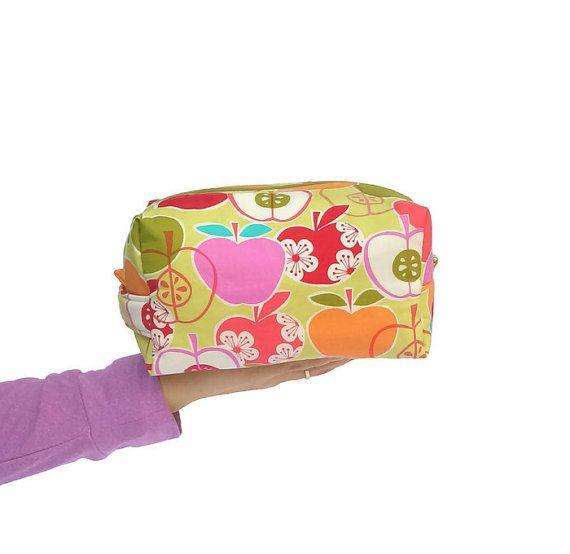 Apples Box Makeup Bag, Wedding Gift, Cosmetic Bag, Graduation Gift, Bridesmaid Gift, Box Toiletry Bag, Apples Travel Zipper Pouch