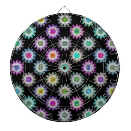 COLORFUL FLORAL PATTERN DARTBOARD WITH DARTS - floral style flower flowers stylish diy personalize