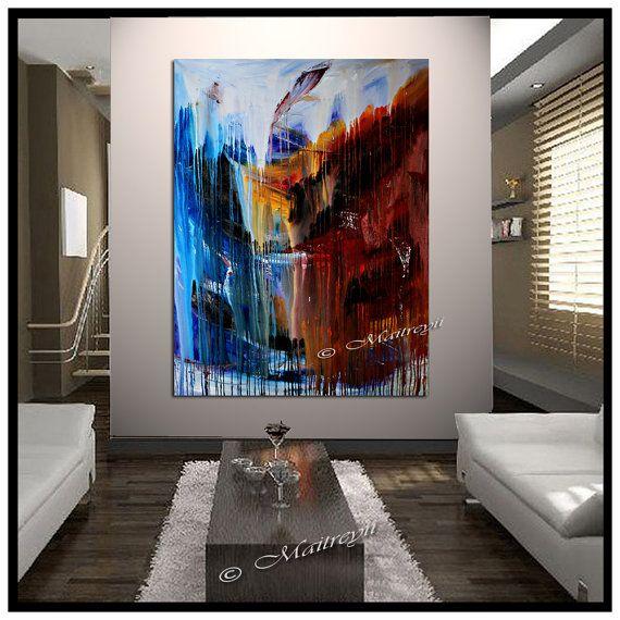 Largeartwork - schmücken Sie Ihr Heim und Büro mit den einzigartigsten abstrakte Wasserfall-Wand-Kunst. Dies ist eines der besten Qualität abstrakte Malerei von Dallas Künstler Maitreyii gemacht Dieses Gemälde hat visuelle Wasserfall-Effekt, ein Gefühl der intensiven noch Schönheit der Natur widerspiegelt.  Dieser abstrakte Kunst kann sein Mittelpunkt in Ihrem Wohnzimmer, Schlafzimmer oder Büro Empfang. Diese abstrakte Malerei auf einem Stück 60 x 45 Leinwand erstellt wurde, gibt es ein sehr…