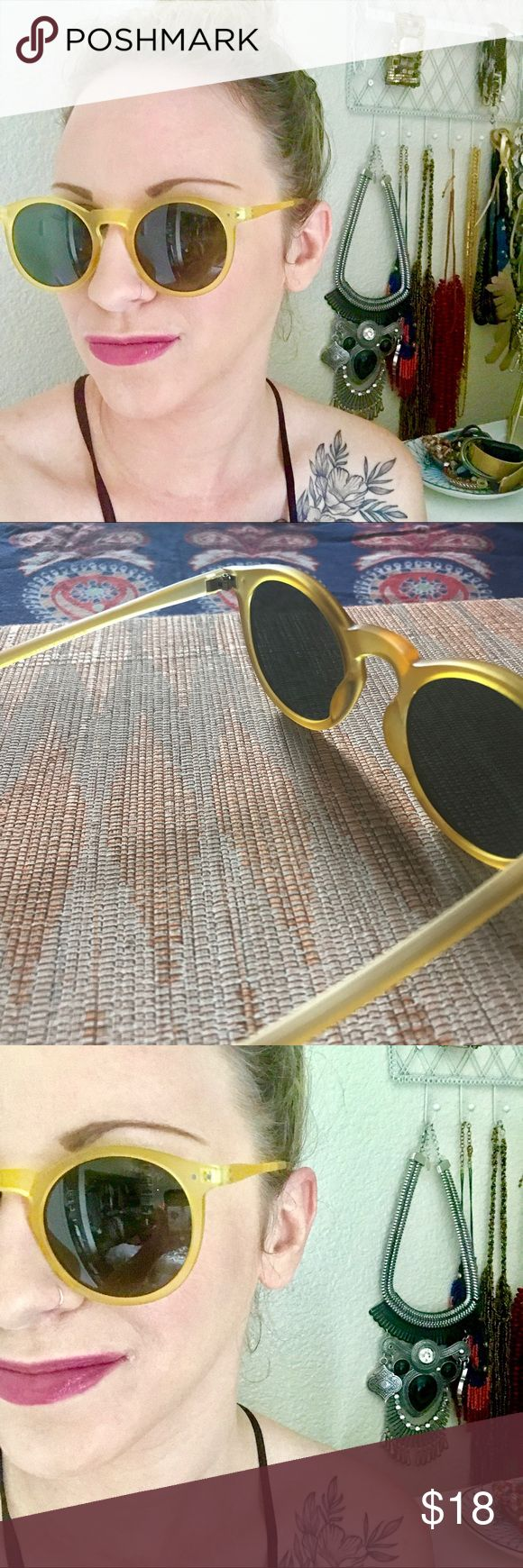 mustard / yellow brand new fun fashion sunglasses adorable sunglasses in perfect condition golden yellow / mustard plastic that's slightly see-through / opaque perfect, never-used condition (no tags) slight cat-eye at edges black / grey circular lenses Accessories Sunglasses