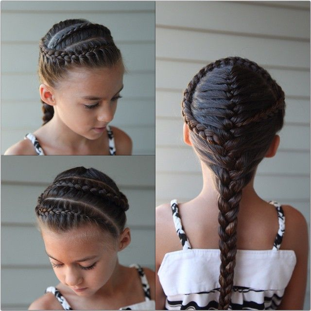 French Braids.  This was done on wet hair to keep the flyaways away